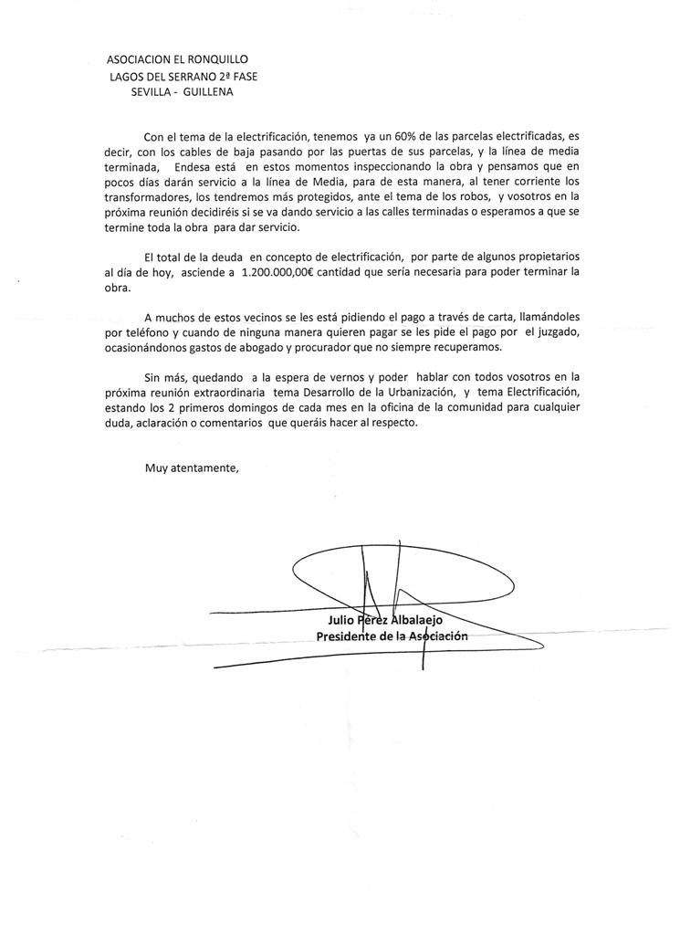 Carta 2 Urbanizable no sectorizados segunda fase de los lagos del serrano